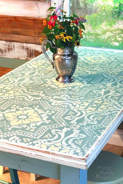 Krijtverf tafel met print
