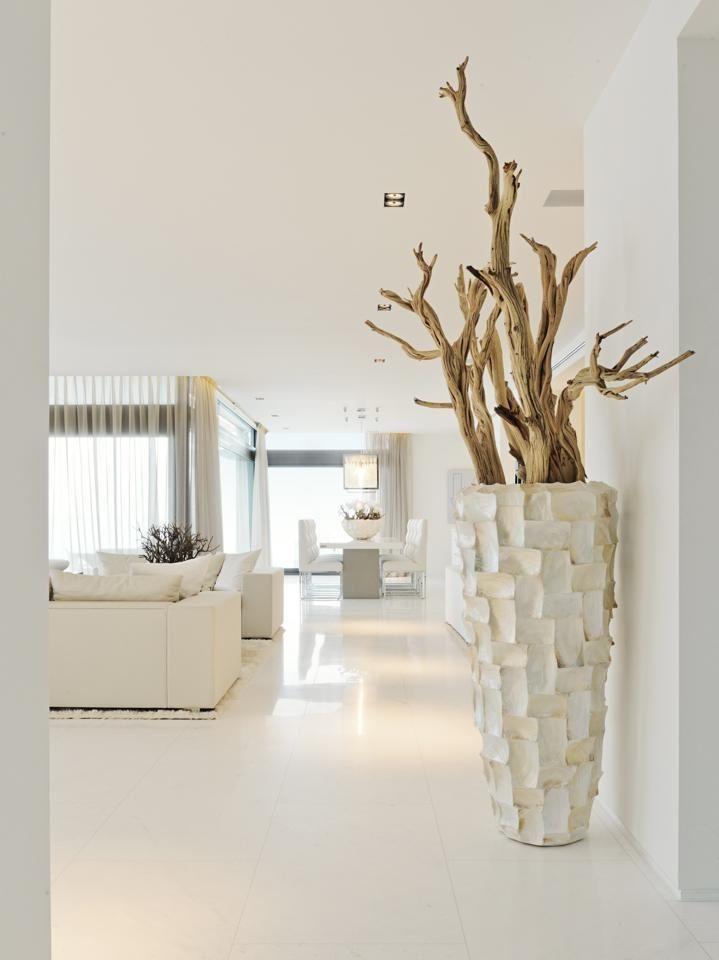 een schelpenvaas in een design interieur